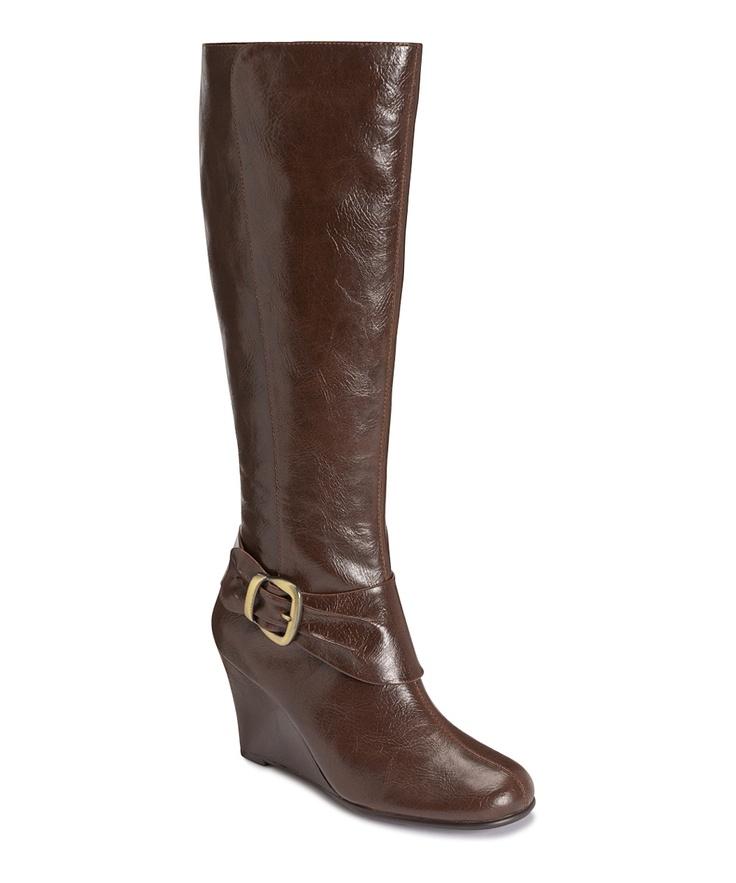 aerosoles brown plum what wide calf wedge boot