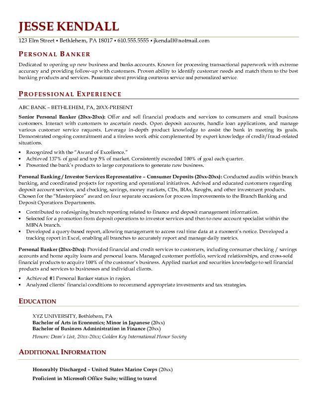 best resume format banking
