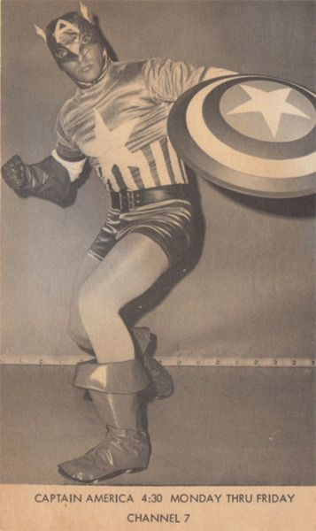 A photo of Arthur Pierce in the Captain America costume he wore as the live-action host of the 1966 Marvel Super Heroes cartoon series in Boston. His segments are said to have been scripted by Superman creator Jerry Siegel.