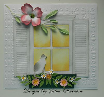 Selma's Stamping Corner: Pretty Dogwood Branch and Madison Window die with shutters and flower box.