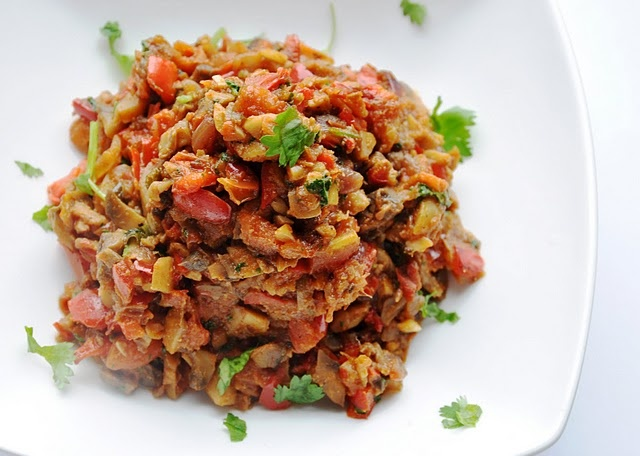 ... Subzi (Mushroom Masala-Spiced Sautee with Red Bell Peppers and Onion