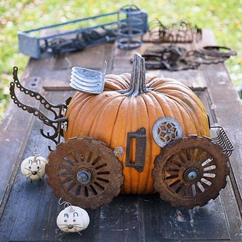 DIY Steampunk Cinderella's Coach No Carve Pumpkin from BHG here. First seen at Geek Crafts here.    Instead of a magic wand, use corn planters for the wheels, a soap dish for the driver's seat, a drawer pull for the door, and a sink drain for the window. The little mice are mini pumpkins with upholstery-tack noses, wire whiskers, and nail feet.