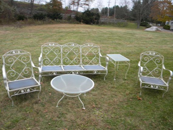 5 piece good shape sturdy strong early 1970s mid century metal outdoo Metal patio furniture vintage
