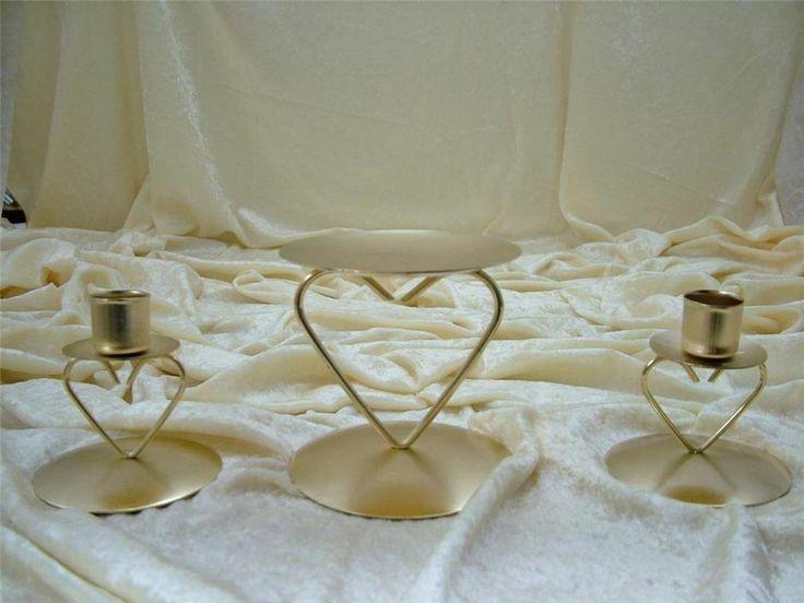 New metalic gold metal unity candle holder set heart wedding bridal c