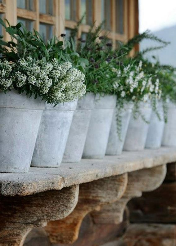 White washed terra cotta pots on a window sill.