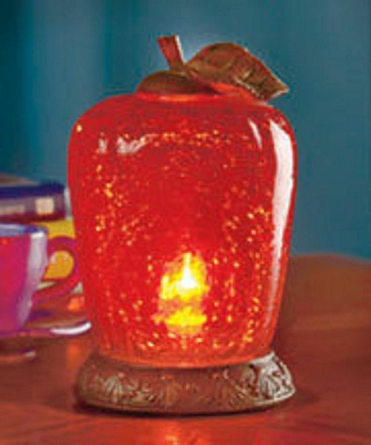 Glass apple accent lamp country kitchen decor red apple - Apple themed kitchen decor ...
