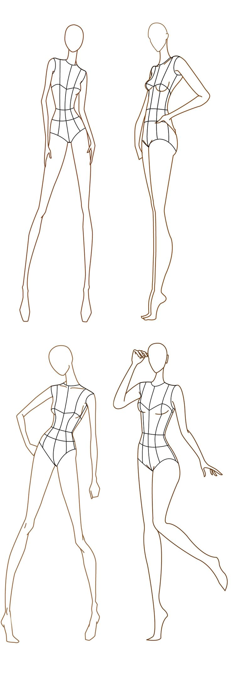 Fashion illustration body templates 42