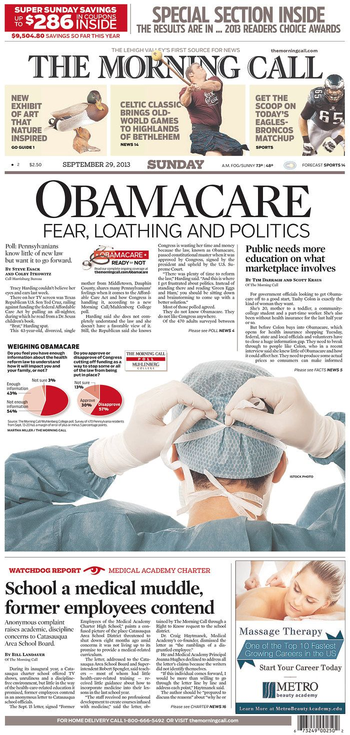 """""""OBAMCARE: FEAR, LOATHING AND POLITICS"""" atop the Allenton, Pa. Morning Call"""