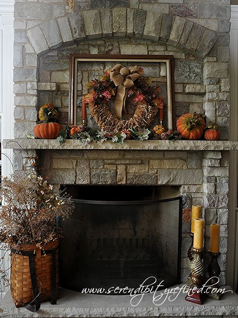 A simple autumn mantel with a coffee filter wreath and dried bittersweet, allium, and hydrangea from my yard.