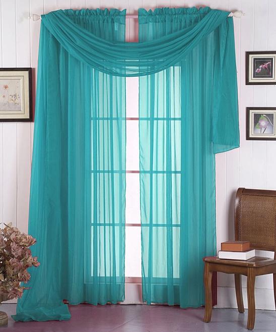 Aqua Voile Curtain Panel & Scarf Set