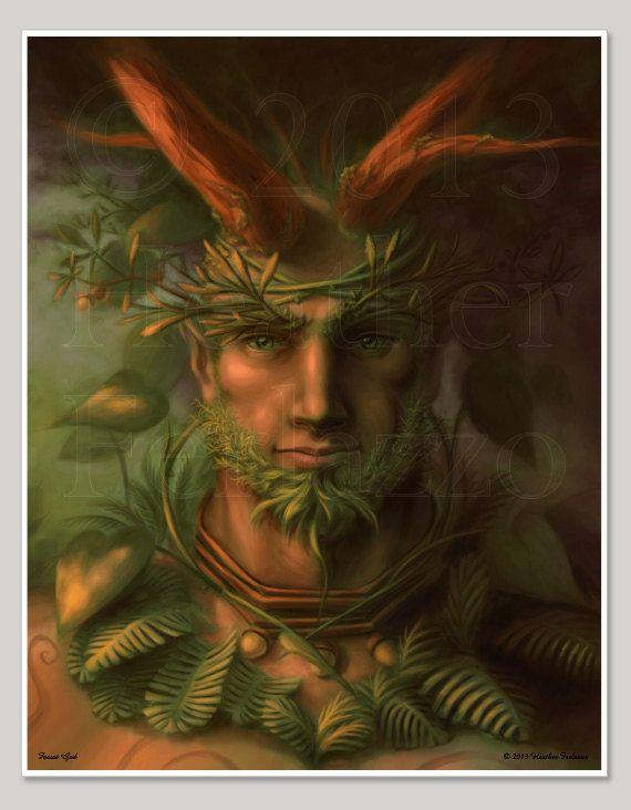 Forest God Print 11x14 Green Man Digital Art