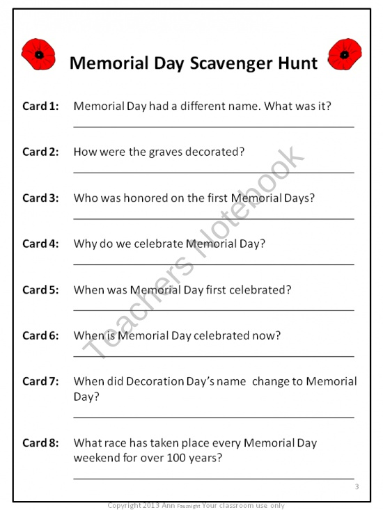 memorial day classroom projects