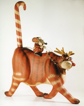 Randolph the Red Nosed Cat with Santa Mouse. Whimsical wood carving by artist Robert Stebleton.