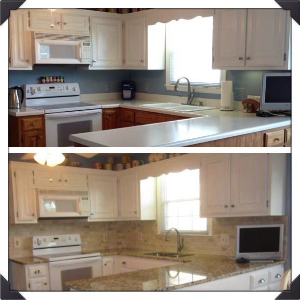 Pin by shelly rogers on for the home pinterest for Annie sloan chalk paint kitchen cabinets before and after