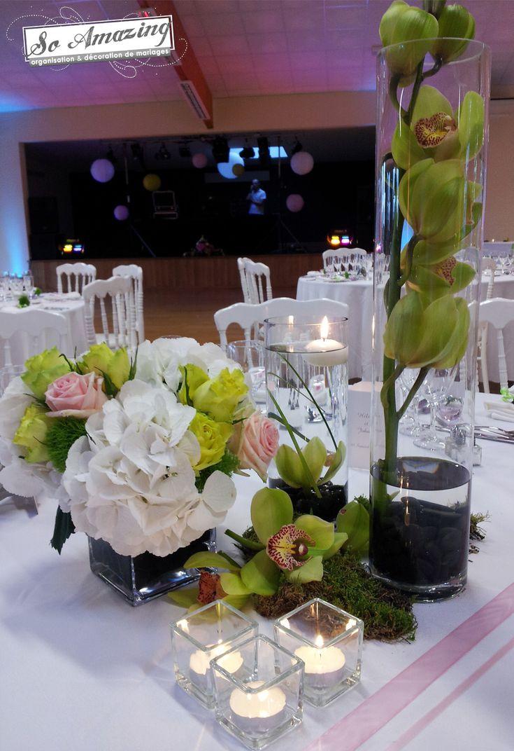 D Coration De Table Et Salle Vert Anis Pour Un Mariage