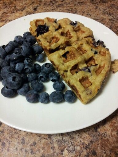 Gluten-free blueberry waffles (recipe by Edible Perspective)