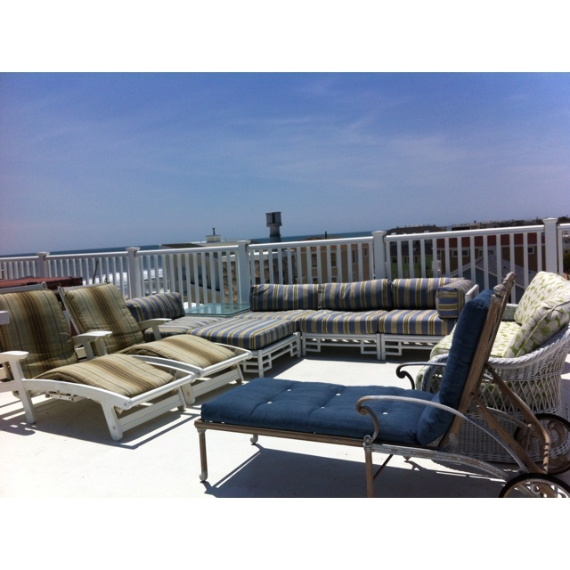 4th floor rooftop deck, outdoor living room with Panoramic views of LBI. Www.lbi-vacation.com
