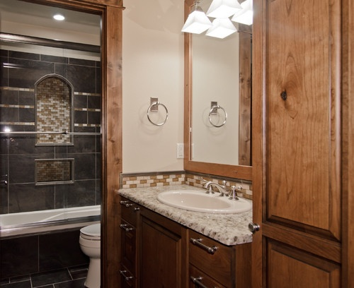 Gray and brown contrast bathroom remodel ideas pinterest for Gray and brown bathroom ideas