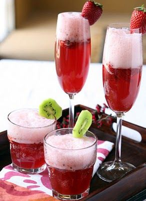 Strawberry Champagne Punch...love the use of kiwi, too!!