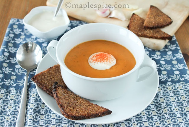 "Creamy Smoked Paprika Sweet Potato and Dill Soup with ""Butter"" Gril..."
