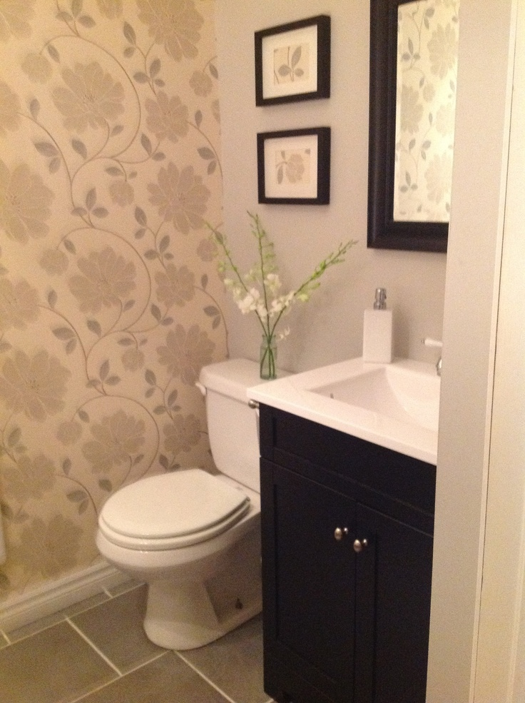 Powder room makeoverlove the idea of one wall of paper with