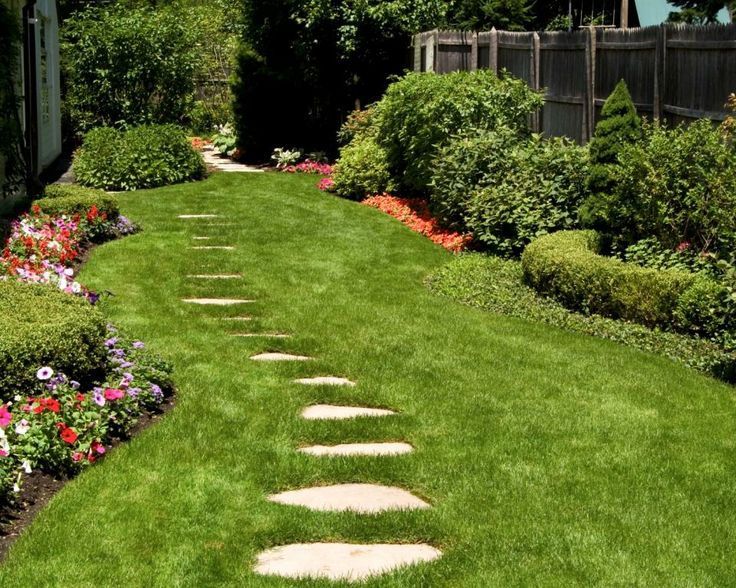 Lush lawn with stepping stone path lush lawns pinterest for Stone path in grass