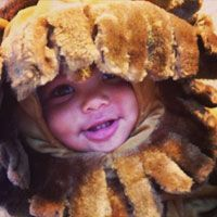 "Amber Rose dressed up her little son Sebastian Taylor Thomaz in a Halloween costume. Instagramming the pic, the model mom wrote: ""We love our Lil Lion baby #Sebastian."""