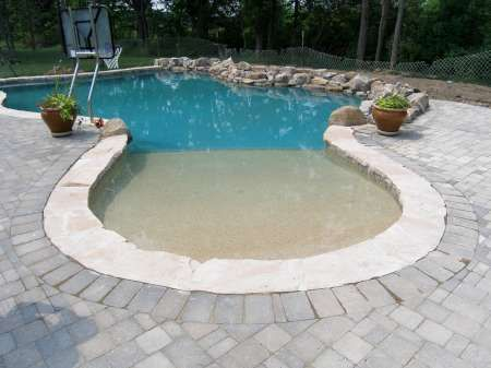 Zero entry with rock swimming pools pinterest for Repurpose inground swimming pool