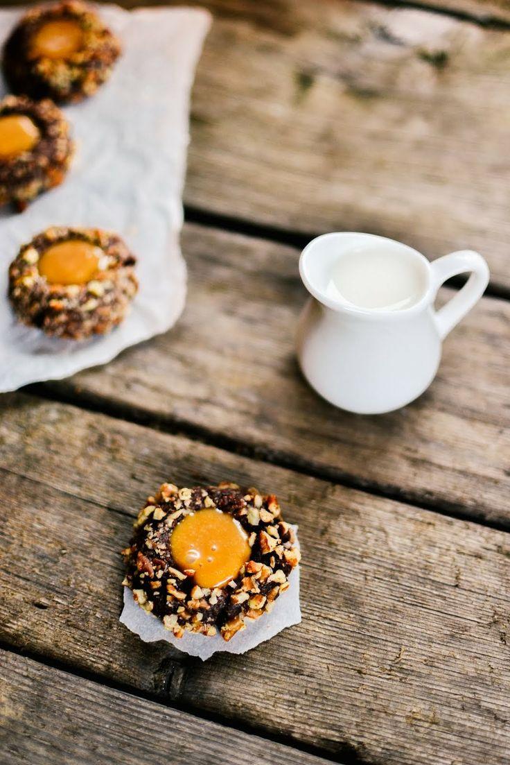 chocolate pecan caramel thumbprint cookies