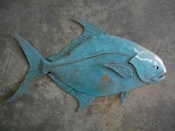 Pompano fish sculpture tropical coastal beach metal wall art for Florida pompano fish