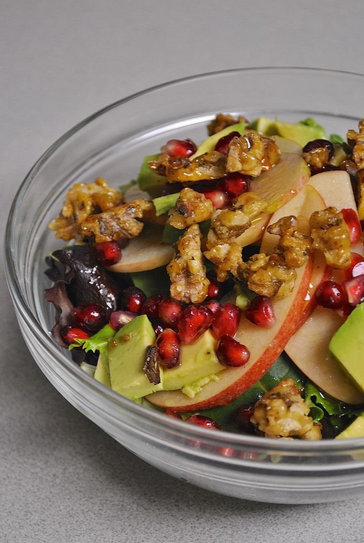 Winter Salad with Pomegranate, Apples, Avocado, and Candied Walnuts