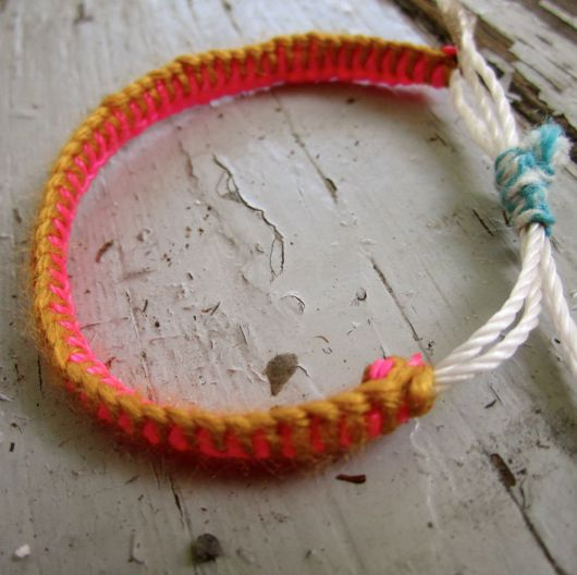 Neon Bracelet DIY using mason line;  from A Few Good Things