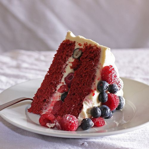 Red Velvet Cake with Raspberries and Blueberries! #4thOfJuly
