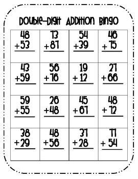 DOUBLE-DIGIT ADDITION BINGO (W/ REGROUPING) - TeachersPayTeachers.com