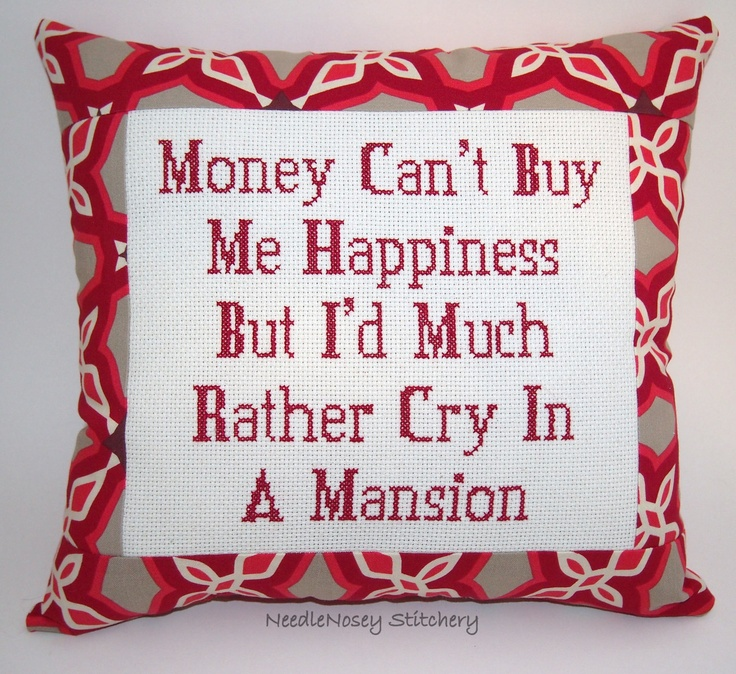 ... Pillow, Red Pillow, Money Can't Buy Happiness Quote. $25.00, via Etsy
