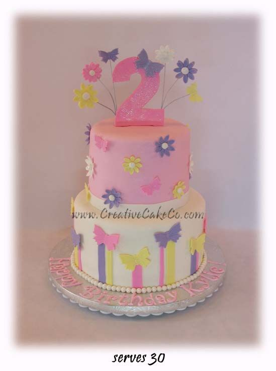 Cake Ideas For 2nd Birthday Girl : 2 tier butterflies and flowers birthday cake by Creative ...