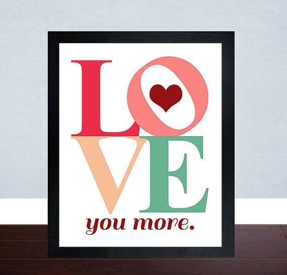Wall Art Love You More : Love you more wall art valentines day print