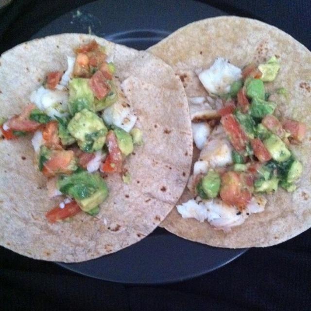 Halibut tacos: 1/2 pound halibut, 1 avocado, 4 tablespoon green onion ...