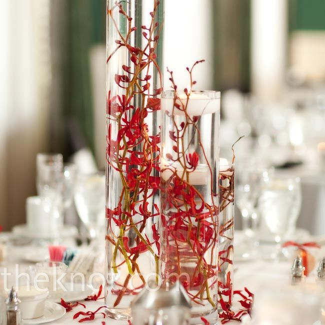 Red orchid centerpieces wedding fever pinterest