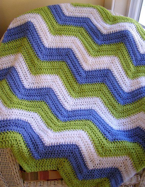 Crochet Zig Zag Baby Blanket : chevron zig zag baby blanket afghan wrap crochet knit lap robe wheelc ...