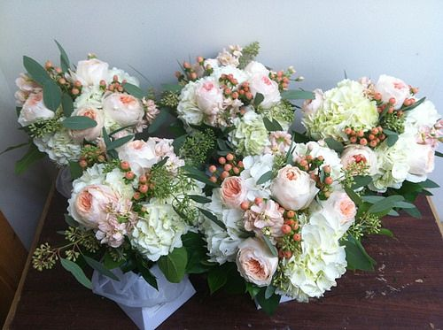 Bridesmaids bouquets - hydrangeas, garden roses, berries, stock and seeded eucalyptus | Flickr - Photo Sharing!