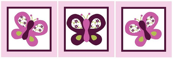 Set of 3 (Sugar Plum Butterflies/Butterfly) Wood Plaques 6.5 x 6.5 inches each