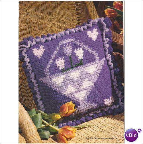 Crochet Patterns Nz : Crochet Pillow Pattern Flower Basket Pillow on eBid New Zealand
