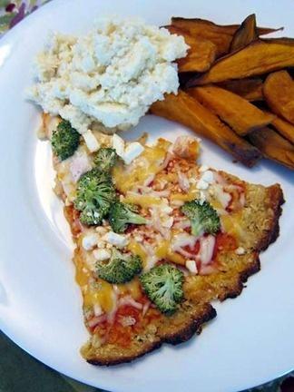 ... feta cauliflower pizza with cauliflower puree and sweet potato wedges