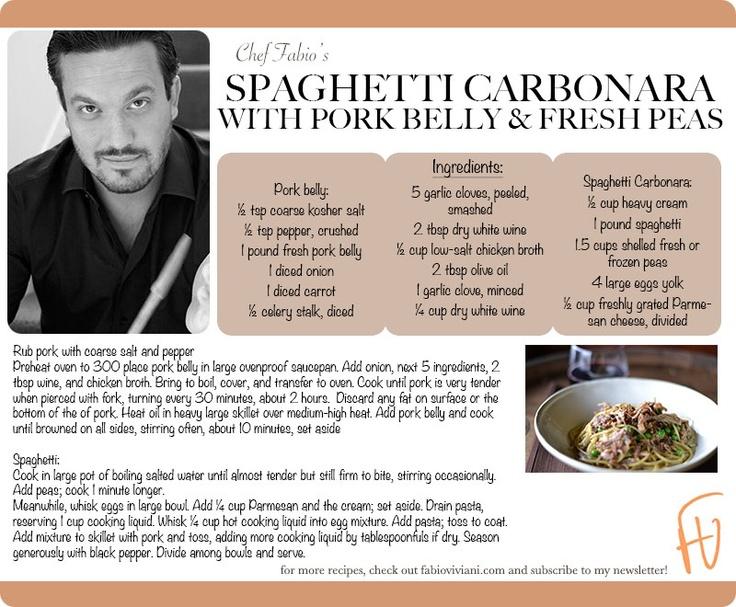 Spaghetti Carbonara with Pork Belly and Fresh Peas #HappyBdayFabio