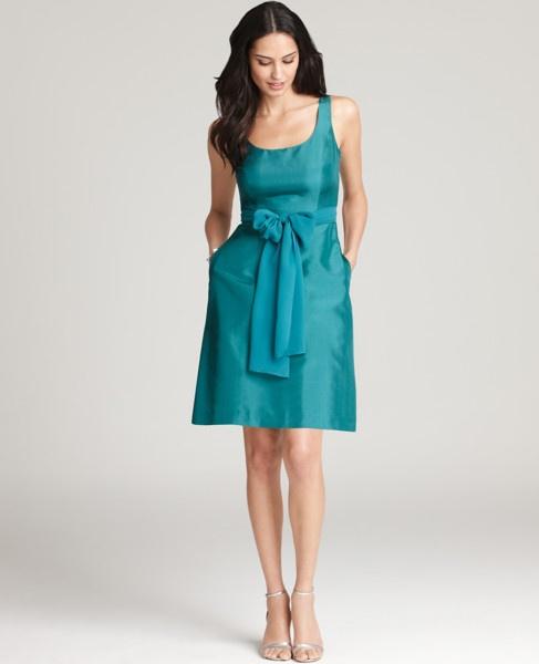 Silk Dupioni Scoop Neck Dress- Rich Malachite
