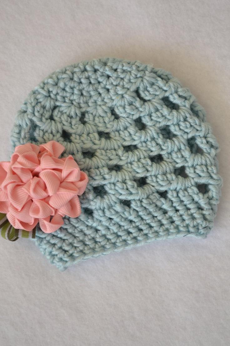 Crochet Ribbon : crochet hat with ribbon flower Crochet Please Pinterest