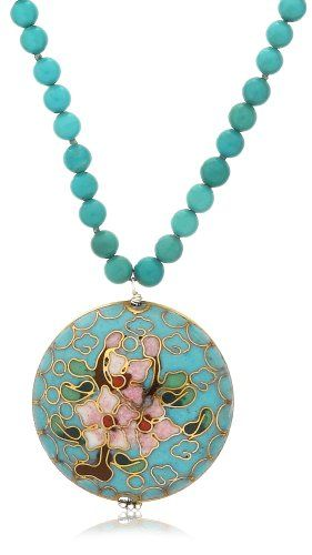 "Sterling Silver Beaded Turquoise Necklace with Cloisonne Pendant, 16""-18"" -"