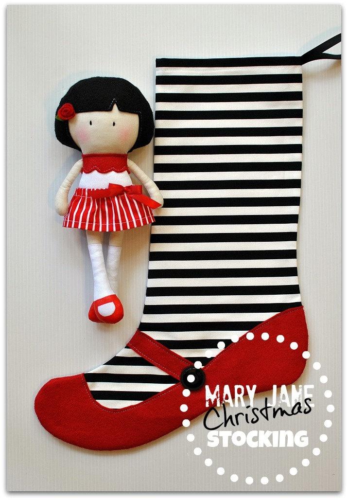Мэри Джейн рождественские чулки - черные и белые полосы