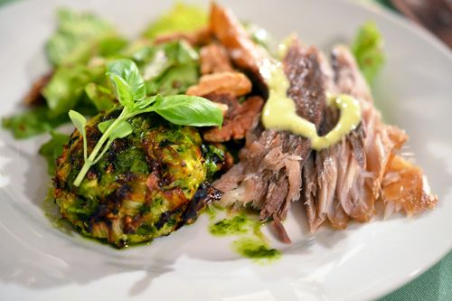 crispy baked zucchini fritters with fresh smoked bluefish and sea ...